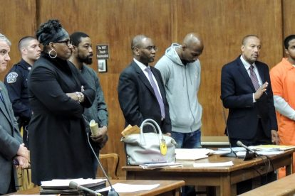 Assistant Prosecutor David Calviello, defense attorney Aishaah Rasul, defendant Louis Lucas, defense attorney Landry Belizaire, defendant Jerry Montgomery, defense attorney Ian Silvera, defendant Darrius J. Brown.